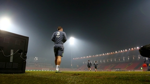 Seamus Coleman walks out for training at the Bilino Polje stadium in Zenica yesterday