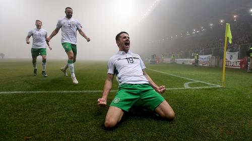 Robbie Brady celebrates giving Ireland the lead