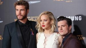 Liam Hemsworth, Jennifer Lawrence and Josh Hutcherson at the premiere