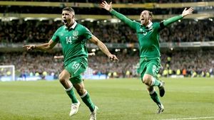Jonathan Walters and Richard Keogh celebrate the former's goal against Bosnia in 2015