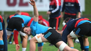 Munster players go through their paces during training on Tuesday