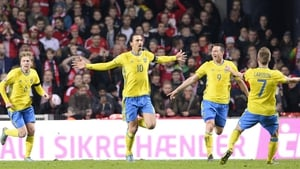 Zlatan scored twice for the Swedes