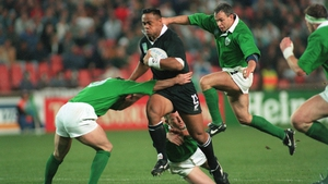 Jonah Lomu in action against Ireland