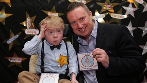 St Raphael's pupil and album star Jack McNiffe with Risin' Time presenter Shay Byrne Photo: Lorraine O'Sullivan