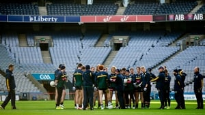 Alastair Clarkson talks to his squad in Croke Park on Wednesday