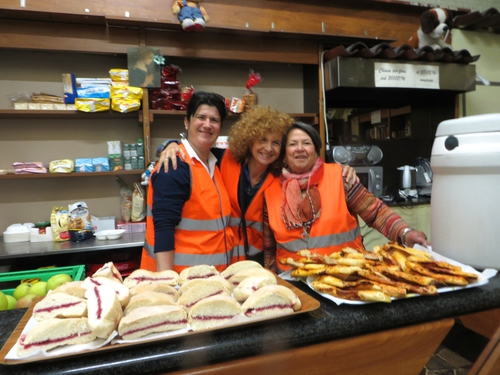 Fulvia Tiziani, Fabrizia Altomare and Marisa Cingoli - Volunteers at 'The Hub' at Milan Central Station. They provide food and hot drinks to refugees.