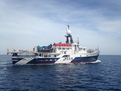 The MY Phoenix, jointly operated by MSF and MOAS, which rescues people in the central Mediterranean. Credit: Caitlin Ryan/MSF