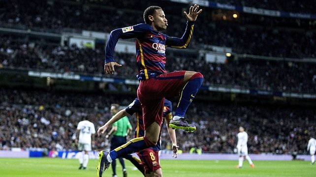 Neymar celebrating on the pitch for Barcelona recently despite his off-field problems