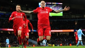 Martin Skrtel celebrates his goal - and Liverpool's fourth - against Manchester City