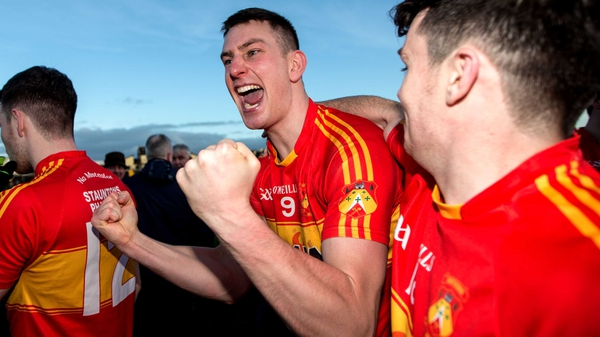 The Castlebar Mitchels midfielder celebrates after the final whistle in Tuam