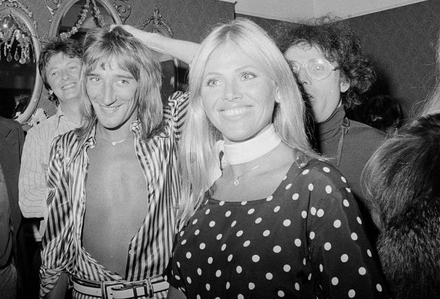 Rod Stewart with his girlfriend, Swedish actress Britt Ekland (1975)