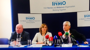 Liam Doran (right) at an INMO press conference today