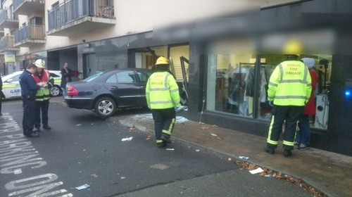 The Mercedes crashed into a launderette in Crumlin