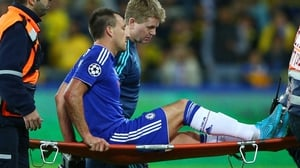 John Terry is stretchered off the pitch during Chelsea's 4-0 win at Maccabi Tel Aviv