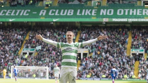 Leigh Griffiths hit a double for Celtic away at Stranraer