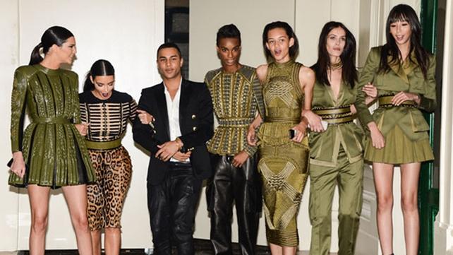 Kendall, big sis Kim, Balmain's Creative Director Olivier Rousteing and other Balmain models