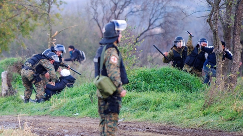 A few people ran across into Macedonia but were quickly detained by police