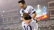 Son Heung-min celebrates with goalscorer Harry Kane in Baku