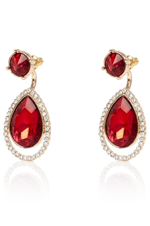 Red gem drop front and back earrings €10 at River Island