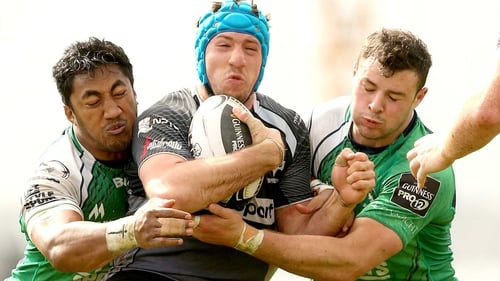 Bundee Aki (left) and Robbie Henshaw (far right) are central to Connacht's hopes in Thomond Park