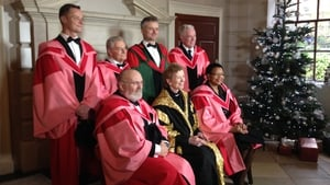 Back row: Rory O'Neill, Tomi Reichental, Trinity Provost and President Dr Patrick Prendergast and Fr Peter McVerry. Front row: David Norris, Chancellor of Trinity Mary Robinson and Graca Machel