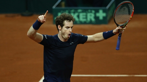 Andy Murray celebrates victory over Ruben Bemelmans
