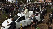 Pope Francis arrives at Namugongo Martyrs' Shrine before holding mass