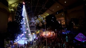 The tree features giant Christmas baubles and is lit by more than half a million lights