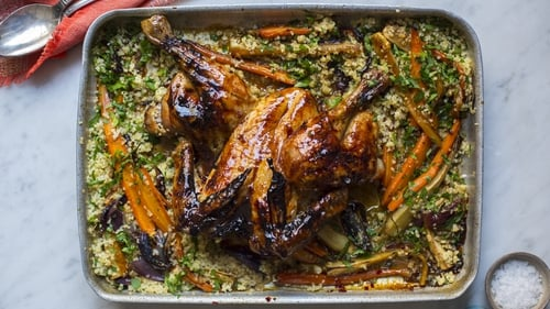 Pomegranate Molasses Chicken with Roasted Vegetable Bulgur Salad