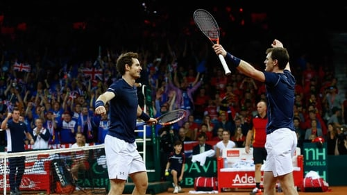 Andy Murray and Jamie Murray celebrate victory in Ghent