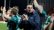 Pat Lam celebrates with his players at Thomond Park