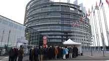 Visitors to the European Parliament queue as they wait for a security check in Strasbourg
