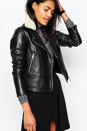 Whistles Della Faux Fur Collar Leather Biker Jacket €514.71 at ASOS