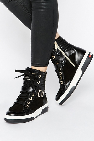 Love Moshino Black Leather Hi Top Trainers €307.36 at ASOS