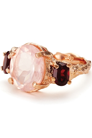 Chupi Dew Drop In the Wild Rose Gold Ring Rose Quartz with Pink Garnet, €299 at Weir and Sons