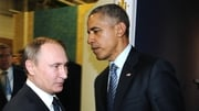 Barack Obama and Vladimir Putin meet at the summit in Paris
