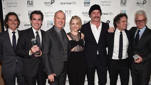 L-R Spotlight stars Billy Crudup, Brian d'Arcy James, Michael Keaton, Rachel McAdams, Liev Schreiber, Mark Ruffalo and John Slattery at the Gotham Awards