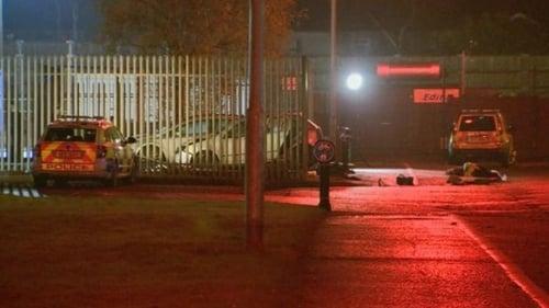 The scene of the crash near the Boucher Road in south Belfast last night