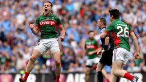 Andy Moran celebrates a crucial score in the drawn All-Ireland SFC semi-final against Dublin