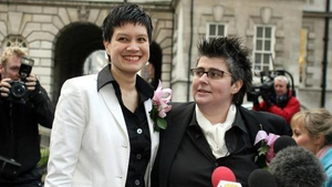 Shannon Sickles (left) and Grainne Close at Belfast city Hall after becoming the first gay couple to enter a civil partnership in the UK in 2005