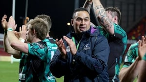 Pat Lam and the Connacht players celebrate their win against Munster at Thomond Park