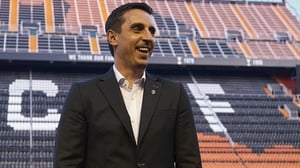 Gary Neville at his unveiling at the Mastalla, a stadium he wants to turn into a fortress