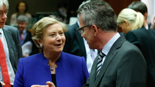 Minster Fitzgerald with German Interior minister Thomas de Maiziere in Brussels