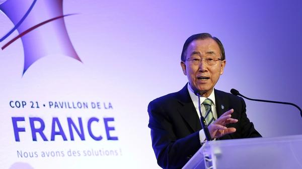 UN General-Secretary Ban Ki-moon at the talks in Paris