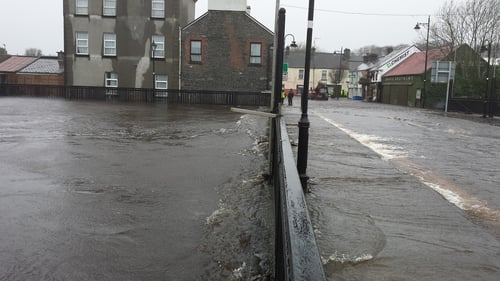 The River Deel has burst its banks in Crossmolina, Co Mayo (Pic: Richard Moyles)
