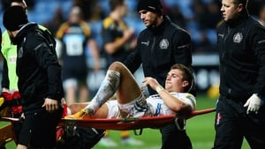 Henry Slade is stretched off during the Aviva Premiership match against Wasps