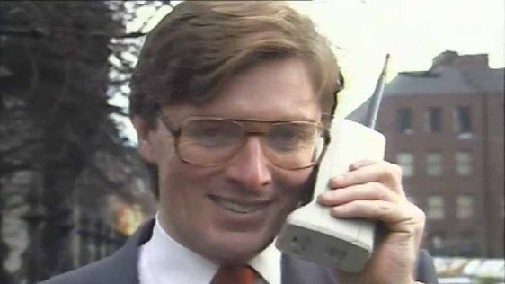 Pat Kenny using an Eircell mobile phone in 1985