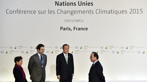 UN climate chief Christiana Figueres, French Junior minister for External Trade and Tourism Matthias Fekl, Ban Ki-moon and French President Francois Hollande