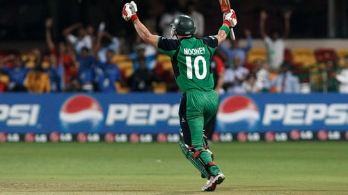 John Mooney celebrating his winning run to defeat England in the 2011 ICC World Cup