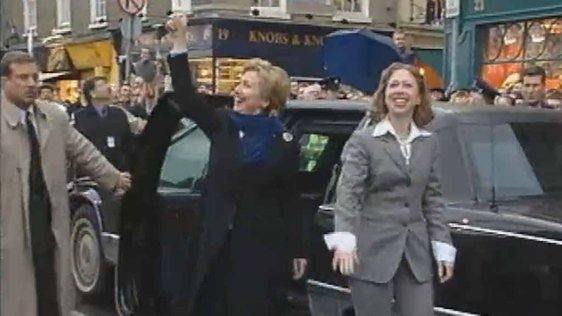 Hilary and Chelsea Clinton 2000